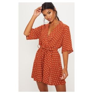 Pretty Little Thing Orange Polka Dot Tea Dress